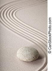 zen trädgård, zen, sten, och, sand