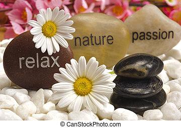 zen tuin, met, stenen, van, verslappen, natuur, en,...