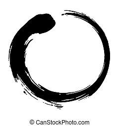 zen, wektor, czarny atrament, szczotka, koło, ilustracja