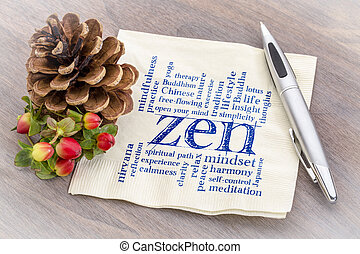 zen word cloud on napkin