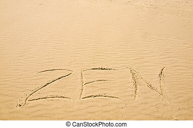 Zen Written in the Sand on a Sunny Day
