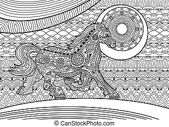 Zenart. Running horse on the pattern background. Coloring book