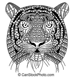 zenart style tiger head with moustache, black and white drawing, printable