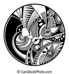 zendala, abstrakt, kreis, schwarz, weißes