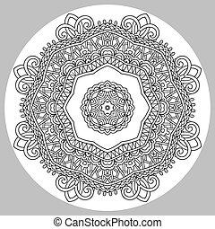 zendala, coloração, adultos, -, livro, página