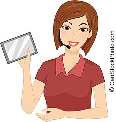 zender, tablet, illustratie, fm, meisje, leraar