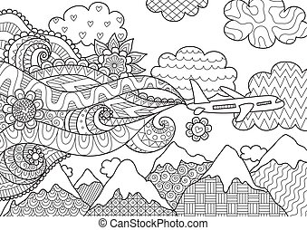 Zendoodle abstract airplane flying over beautiful mountain for banner, adult coloring book pages and design element. Stock Vector