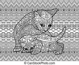 Zendoodle coloring book for adults. Mother cat with kitten