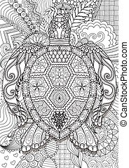 sea turtle - Zendoodle design of sea turtle lying on floral...