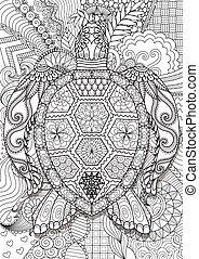sea turtle - Zendoodle design of sea turtle lying on floral...