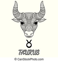 Taurus - Zendoodle design of Taurus zodiac sign for design...