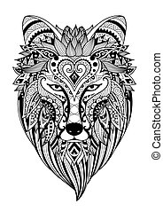 Zendoodle stylized dire wolf for T-Shirt design, tattoo and coloring book page