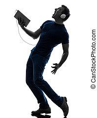 zene, árnykép, digital bábu, tabletta, kihallgatás