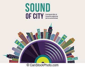 zene, és, város, táj, háttér