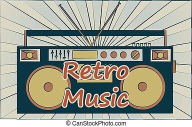 zene, 80, music., szalag, 70, audio, vektor, disco, öreg, ...
