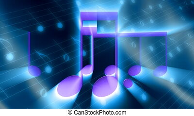 zene, alatt, csillogó rays, bukfenc