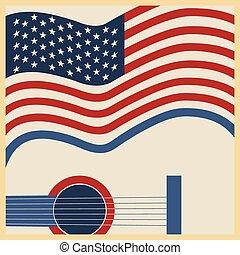 zene, amerikai, ország, poszter