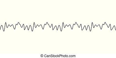 zene, ecset, egyenes, isolated., vagy, hangzik, vektor, amplitúdó, ábra, dobog, seamless