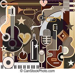 zene, elvont, vektor, -, ábra