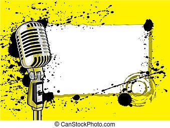 zene, esemény, tervezés, (vector)