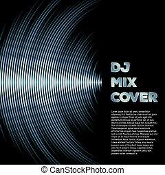 zene, fedő, noha, waveform, mint, egy, vinyl, barázdál