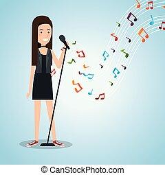 zene, fesztivál, él, noha, nő, éneklés
