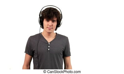 zene, fiatal, kihallgatás, ember