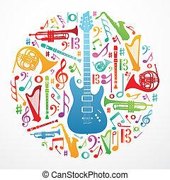 zene, fogalom, szeret, háttér, ábra
