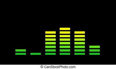 zene, grafikus, equalisers, és, audio, analízis, csíptet