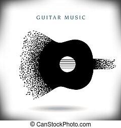 zene, háttér, gitár