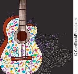 zene, háttér, noha, gitár