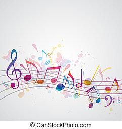 zene, háttér, noha, pillangók