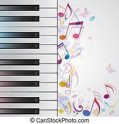 zene, háttér, noha, zongora