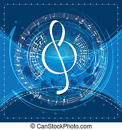 zene, háttér, treble clef
