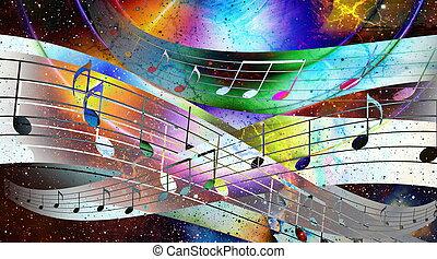 zene híres, és, hely, noha, stars., elvont, szín, háttér., zene, concept.