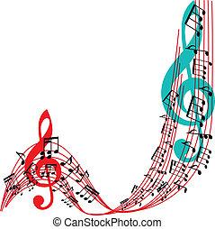 zene híres, háttér, elegáns, zenés, téma, keret, vektor, illu