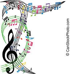 zene híres, háttér, elegáns, zenés, téma, zenemű, vecto