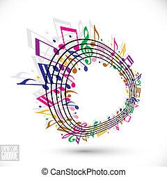 zene, hangjegykulcs, hangjegy., színes, háttér