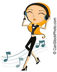 zene, leány