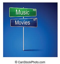 zene, mozi, irány, út, cégtábla.