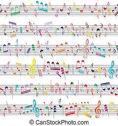 zene, szív, jegyzet, hangzik, szeret, struktúra
