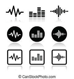 zene, vektor, állhatatos, soundwave, ikonok