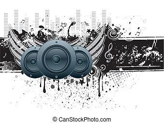 zene, vektor, háttér