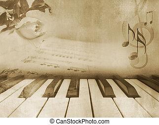 zene, zongora, -, háttér, szüret