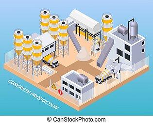 zenemű, beton, termelés, gyár