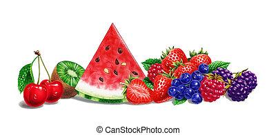 zenemű, cseresznye, kiwi., csepp, darabka, bacround, görögdinnye, málna, háttér., gyümölcs, különféle, eper, included., út, árnyék, áfonya, fehér
