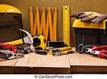 zenemű, közül, dolgozó, eszközök
