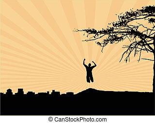 Zenith - Man running up a hill away from an industrial...