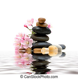 Zen/spa stones with flowers
