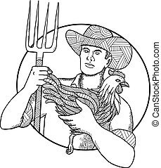 zentagle, めんどり, 農夫, 保有物, 干し草用フォーク